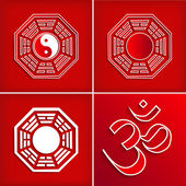 Chinese religion symbol set on red - vector illustration — Stock Vector