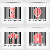 Barcode image with red strip - vector illustration — Stock Vector