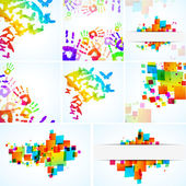 Abstract colour backgrounds set on white - vector illustration — Stock Vector