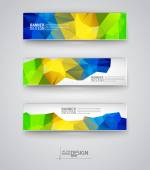 Set of Banners with Multicolored Polygonal Mosaic Backgrounds — Stock Vector