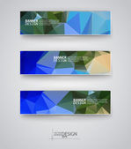 Set of Banners with Multicolored Polygonal Mosaic Backgrounds — Wektor stockowy