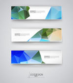 Set of Banners with Multicolored Polygonal Mosaic Backgrounds — Vettoriale Stock