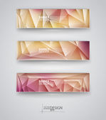 Set of Banners with Multicolored Polygonal Mosaic Backgrounds — Stok Vektör