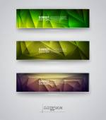 Set of Banners with Multicolored Polygonal Mosaic Backgrounds — Stockvector