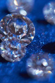 Diamonds on blue — Stock Photo