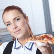 Businesswomen with pizza — Stock Photo #55878927