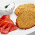 Potato pancakes with salmon — Stock Photo #57853997