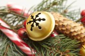 Christmas decorations with fir tree branch — Stock Photo