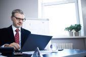 бизнесмен с ноутбуком — Стоковое фото