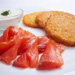 Potato pancakes with salmon — Stock Photo #60941089