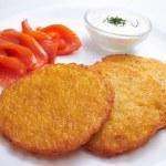 Potato pancakes with salmon — Stock Photo #62626193