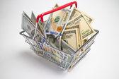 Money in shopping basket — Stock fotografie