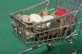 Coins in the shopping basket — Stock Photo