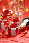 Geschenken met rode linten — Stockfoto