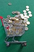 在购物篮中的硬币 — 图库照片