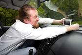 Driver furious on GPS navigation a wrong way — Stock Photo