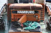 """Details of  Old german boat with a title """"Hamburg"""" in a port Ham — Stock Photo"""