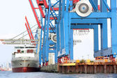 Port of Hamburg on the river Elbe, the largest port in Germany — Stock Photo