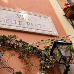 Via Delle Paste - street name sign in Rome, Italy — Stock Photo #70740677