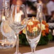 Wineglasses setting on the arranged table in the restaurant — Stock Photo #73500323