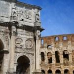 Arco de Constantino and Colosseum in Rome, Italy — Stock Photo #76283535