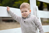 2 years old Baby boy on the a white picket fence beside the hors — Stock Photo