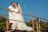 Love story on a wooden bridge — Foto de Stock