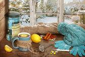 горячий чай на холодный зимний день — Стоковое фото