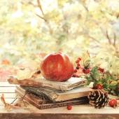 Old books, leaves and apple in autumn scenery — Stok fotoğraf