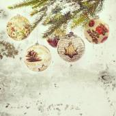 Christmas baubles made by technique decoupage on chreistmas tree — Stock Photo
