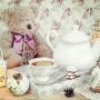 Christmas tea in retro style — Stock Photo #56086555