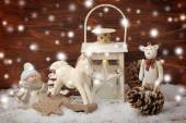 Rocking horse,teddy bear and lantern on christmas background — ストック写真