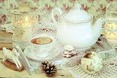Christmas tea in retro style — Foto de Stock