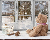 Teddy bear and rocking horse looking at snowy day — ストック写真