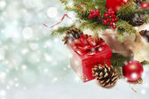Christmas decoration with red gift box — Stock Photo