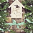 Christmas composition with small bird house. — Stock Photo #57298657