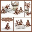 Collage homemade Gingerbread christmas tree — Stock Photo #58099893