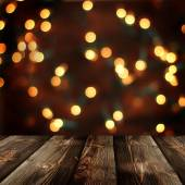 Christmas  background with empty rustic table — Stockfoto