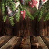 Jul bakgrund med Tom rustika tabell — Stockfoto