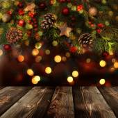 Christmas  background with empty rustic table — ストック写真