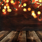 Christmas  background with empty rustic table — 图库照片