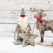 Christmas Reindeer on wooden background in scandinavian style — Stock Photo #59173607