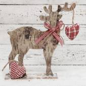 Christmas Reindeer on wooden background in scandinavian style — Stock Photo