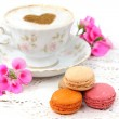 Macaroons traditional Parisian cookie with cup of coffee — Stock Photo #62093555
