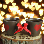 Two cups of coffee with ribbons. Valentine card. — ストック写真