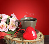 cup of coffee. Valentine card. — Stock Photo
