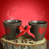 Two cups of coffee with ribbons. Valentine card. — Φωτογραφία Αρχείου