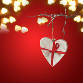 Wooden heart on red valentine background — 图库照片