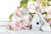 Birdhouse and spring flowers — Stock Photo