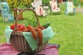 Picnic basket in the garden — Stockfoto